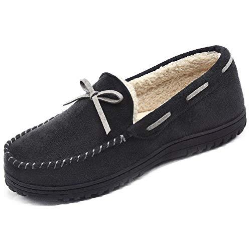 RockDove Men's Memory Foam Moccasin Slippers w/Plush Faux Fur Lining (11, Black)