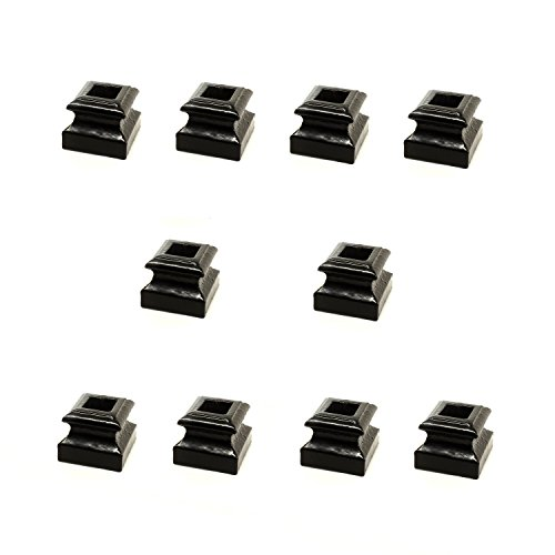 - ALEKO 10SHOEM3 Baluster Shoe Stair Spindle Supply 1/2 Inch Cast Iron Black Metal Lot of 10 Flat Shoes