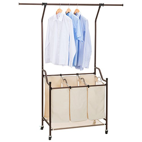 Ollieroo Classic Rolling Laundry Sorter Cart Heavy Duty 3 Bags Laundry Hamper with Telescopic Hanging Bar (Beige 2) Positioning Bar