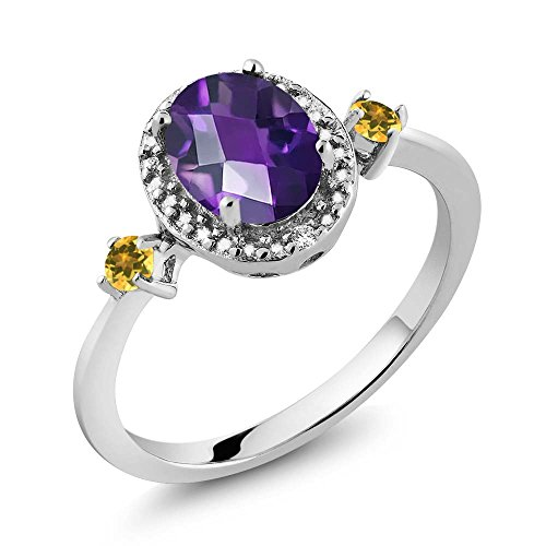 Oval Citrine Diamond Accent Ring - 1.15 Ct Oval Amethyst and Simulated Citrine 925 Silver Ring With Accent Diamond