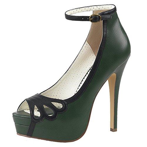 Heels-Perfect - Pantuflas de caña alta Mujer Grün (Grün)