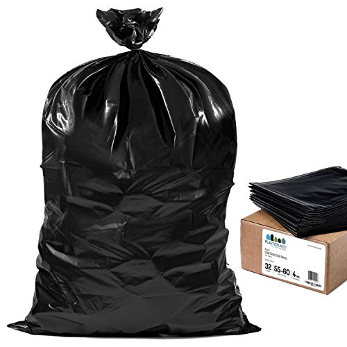 Plasticplace 55 Gallon Contractor Bags, Black, 38'' x 58'', 4 Mil, 32/Case