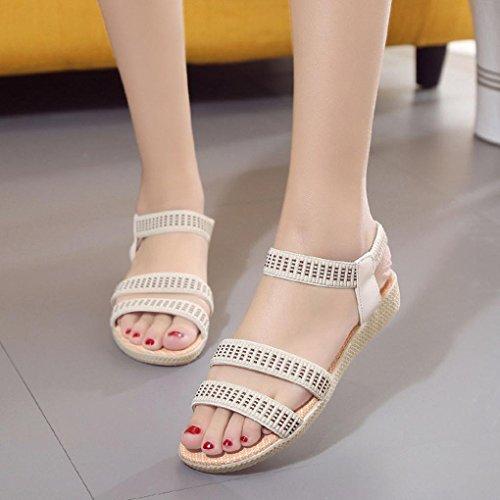 Jamicy Women Ladies Girls Fashion Elasticity Bohemia Leisure Peep-Toe Outdoor Flat Sandals Shoes Beige N50XiO