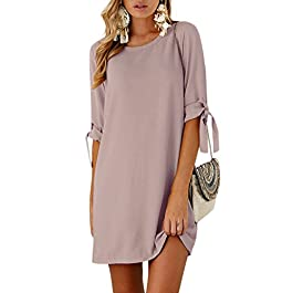 YOINS Summer Dresses for Women Long Sleeves T Shirts Solid Crew Neck Tunics Self-tie Blouses Mini Dr...