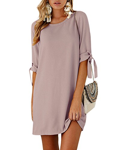 YOINS Women Mini Dresses Summer T Shirt Solid Crew Neck Tunics Self-tie Half Sleeves Blouse Dresses Pink XXL