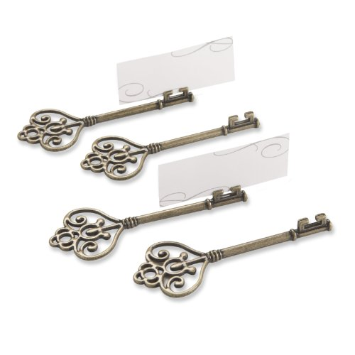 Kate Aspen Set of 4 Victorian Style Key Place Card Holder, Key To My Heart (Key Victorian)