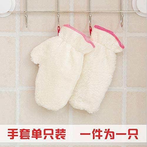 GROSSARTIG Microfiber Dishwashing Glove Non - Dip Oil 5 Pair Kitchen Gadgets Non-Slip Cleaning Hanging Magic Gloves Waterproof Bamboo Fiber Kitchen Gloves (Color : White, Size : L-Five Pairs) by GROSSARTIG