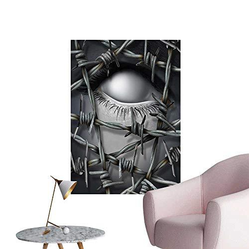 Jaydevn Surrealistic Art Decor 3D Wall Mural Wallpaper Stickers Metallic Empty Human Ice Sacrificed Soul Abandoned Alone Emotion Abstract Art Sofa Background Wall Silver Grey W32 x -