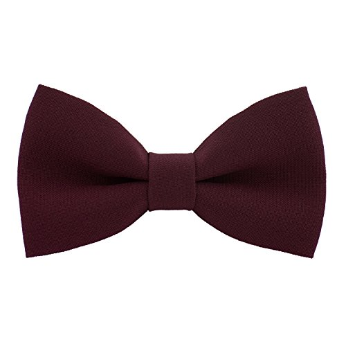 Classic Pre-Tied Bow Tie Formal Solid Tuxedo, by Bow Tie House (Large, Burgundy)