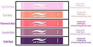 Victorem Mini Loop Resistance Bands –Exercise, Physical Fitness, Home Workout Training Set – CrossFit, Exercise, Fitness – Stretching, Mobility, & Physical Therapy Workout - Booty Bands