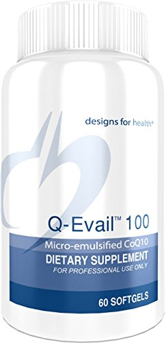 Designs for Health 100mg CoQ10 Ubiquinone Softgels - Q-Evail 100, Natural Coenzyme Q10 with MCT + Mixed Tocopherols (60 Softgels)