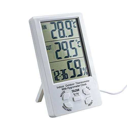 Saftybay Digital Thermometer Hygrometer for Indoor Outdoor Use,Temperature Humidity Monitor with LCD Screen Alarm Clock (B/White) ()