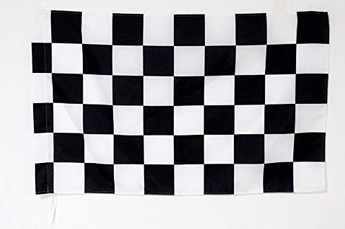 AZ FLAG Racing Black and White Chequered Flag 2' x 3' for a Pole - Session Finished Winner Flags 60 x 90 cm - Banner 2x3 ft with -