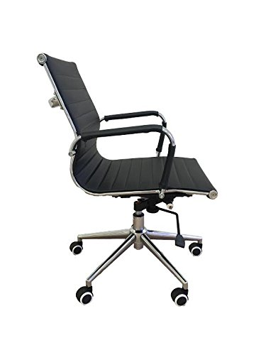 Classic Replica mid back office chair BLACK Pleather - stabilizing swivel bar and knee tilt with  sc 1 st  Amazon.com & Classic Replica mid back office chair BLACK Pleather - stabilizing swivel bar and knee tilt with tensioner knob. (Single Mid Back Black) CH2801