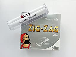 FULL BOX-50 PACK ZIG ZAG SILVER KING SLIM PAPERS & FREE Rolling Machine
