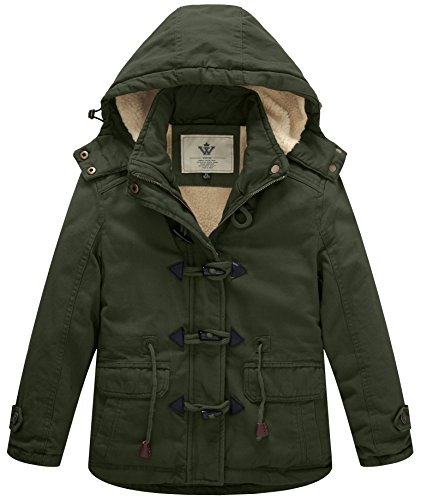 WenVen Girl's Thicken Jacket Cotton Coat with Removable Hood, Army Green, 10-12Y ()