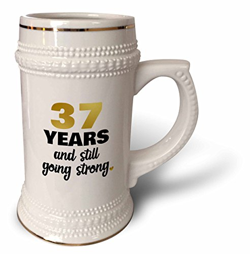 3dRose Janna Salak Designs Anniversary - 37 Year Anniversary Still Going Strong 37th Wedding Anniversary Gift - 22oz Stein Mug (stn_274380_1) (Wedding Anniversary Stein)