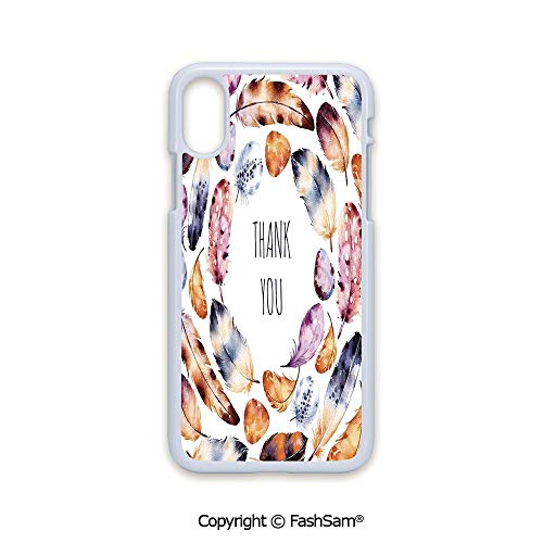 - Fashion Printed Phone Case Compatible with iPhone X Black Edge Bird Hawk Colored Feathers with Hand Written Thank You Note in Middle Print 2D Print Hard Plastic Phone Case