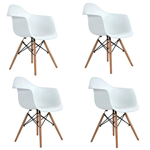 Cheap Ihouse 4 PCS Dining Chairs With Wood Assembled Legs Armrest for indoor outdoor (White)