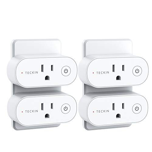Smart Plug, TECKIN 15A Smart Home WiFi Outlet Work with Alexa & Google Home, Alexa Smart Plugs with Remote Control, Schedule and Timer Function, FCC ETL Certification, No hub Require, 4 Pack