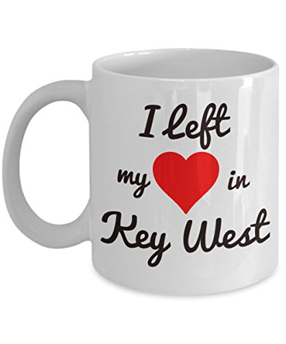 Key West Mug - Key West Souvenirs - I Left My Heart in Key West - Key West Gifts For the Spring Break or Summer Vacation Traveler Who Loves Florida - Street Key West In Florida Duval