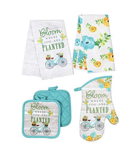 Home Collection Spring Fling Bloom Where You are Planted Kitchen Towel Set with 2 Quilted Pot Holders, 2 Towels and 1 Oven Mitt