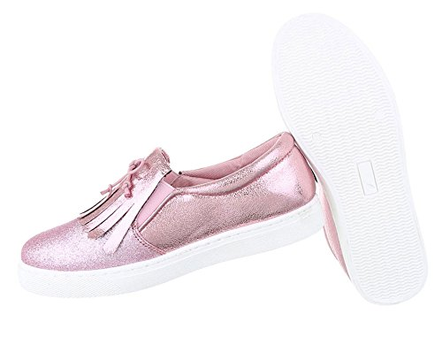 Gold 41 Slip Schuhe Rosa Damen 36 Halbschuhe Slipper 37 39 38 Loafer Silber On Schwarz Mokassins Flats 40 Pink YzYqTBCxw