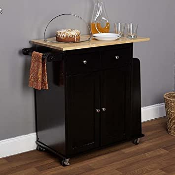 Simple Living Michigan Two-tone Black Kitchen Cart Wood Islands Bar