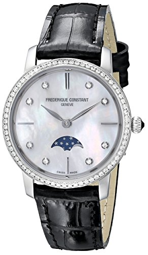Frederique Constant Women's FC-206MPWD1SD6 'Slim Line' Mother of Pearl Dial Diamond Studded Bezel Leather Strap Swiss Watch
