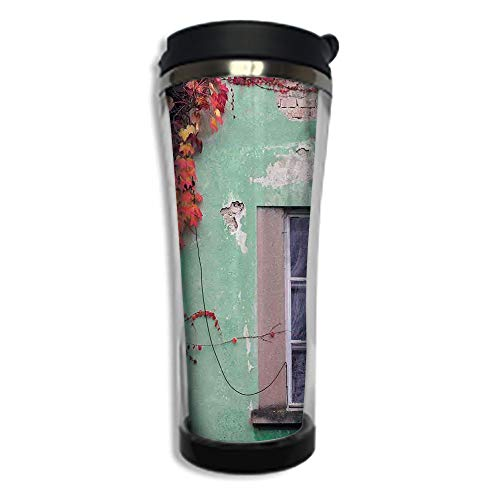 Customizable Travel Photo Mug with Lid - 8.45 OZ(250 ml)Stainless Steel Travel Tumbler, Makes a Great Gift by,Autumn,Fall Ivy on Old House Walls Left Countryside Mansion Vintage Architecture Design,R