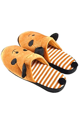 Animal 39 Warm Home Women Size 1 Shoes Pattern of White Bedroom Men Slippers Brown Indoor Pair Cartoon Panda 38 Winter Couples Lovers nSU8UYqw
