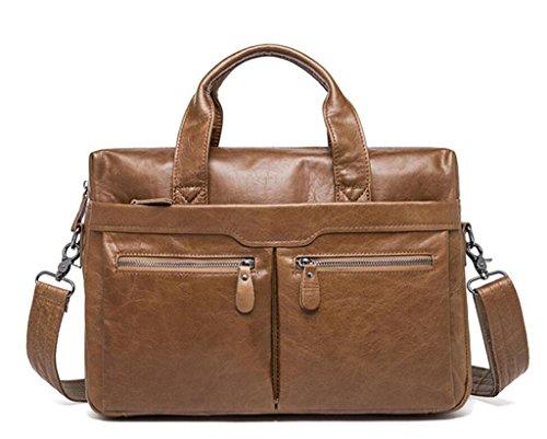 SHFANG Bolso para hombre/cartera de trabajo/bolso de trabajo de cuero/bolso de hombro de cuero casual, 4 3