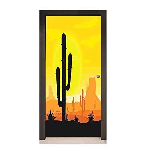 Saguaro 3D Door Sticker Plants in Desert at Horizon Sunset Wild West American Cliffs Mexico View Art Door Decals Yellow Orange Black,W17.1xH78.7