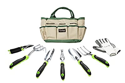Finnhomy Garden Tool Set with Garden Tote Bag and Work Gloves Hand Tools with Ergonomic Handles Including Trowel, Cultivator, Transplanter, Fork, Weeder, Pruning Shears,8 Piece