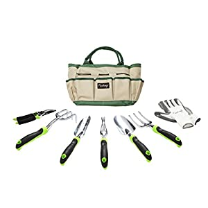 Finnhomy 8 Piece Garden Tool Set with Garden Tote Bag and Work Gloves - Hand Tools with Ergonomic Handles Including Trowel, Cultivator, Transplanter, Fork, Weeder, Pruning Shears