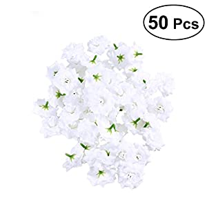 VORCOOL 50pcs Silk Rose Flower Heads for Hat Clothes Album Embellishment (White) 80