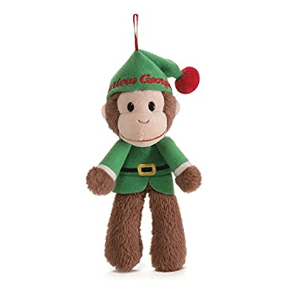 GUND Curious George Holiday Elf Monkey Stuffed Animal Plush Ornament, 7""