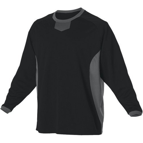 (Alleson Athletic Men's L/S Pullover Baseball Practice Jersey Small Black/Charcoal)