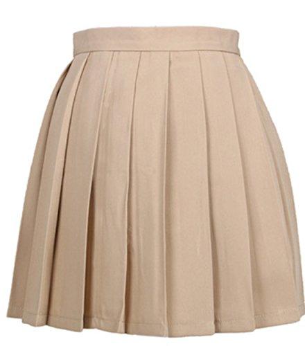 t Femme Haute Taille Mini Jupe Couleur Unie Plisse Jupes de Soire Cocktail Party Kaki
