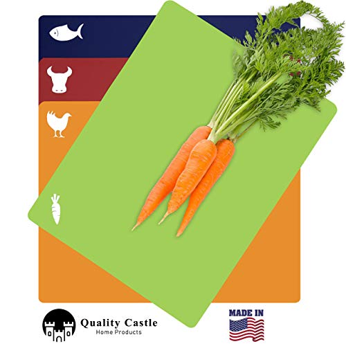 Quality Castle Flexible Cutting Mats | 4 pack | Large Plastic Cutting Board | Chopping Board | Multiple Colors with Logos