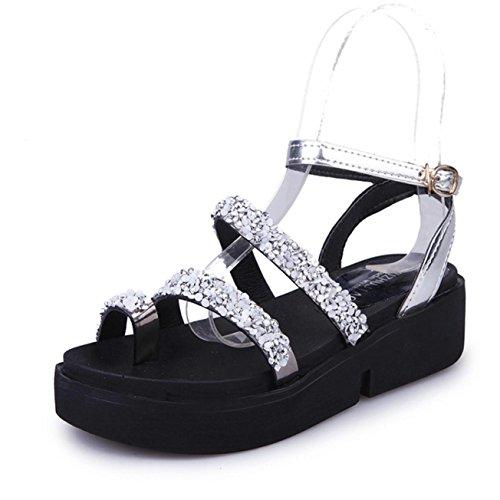 Sandalias de mujer, Internet Zapatos planos de las sandalias del verano de las sandalias del Rhinestone de las mujeres Plata