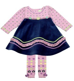 Le Top Baby-girls Lavender Blue Tunic Dress with Tights (24 Month) ()
