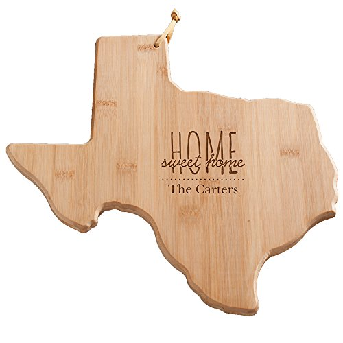 Personalized Home Sweet Home Texas Cutting Board, Bamboo, 14.25