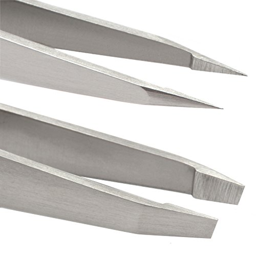 Harperton Pluckit - Professional Tweezers Set - Slant + Pointed Precision Tips by Harperton (Image #1)