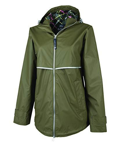 Charles River Apparel Women's New Englander Rain Jacket-Olive/Plaid-Large