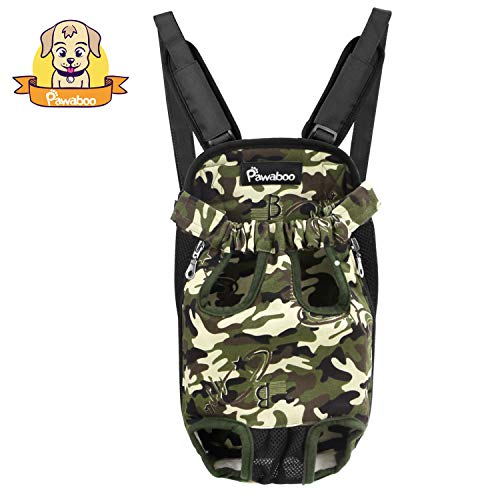 Pawaboo Pet Carrier Backpack, Adjustable Pet Front Cat Dog Carrier Backpack Travel Bag with Padding Shoulder Straps, Legs Out, Easy-Fit for Traveling Hiking Camping, Medium Size, Deep Camouflage Black (Camouflage Carrier Dog)