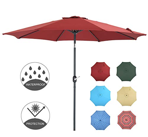 - Patio Watcher 9 Feet Patio Umbrella Outdoor Umbrella with Push Button Tilt and Crank for Market, Backyard, Pool, Garden, Deck, 8 Ribs, Red