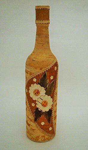 Russian Art Wooden Birch Bark Glass Bottle w/Amber Flowers, 12
