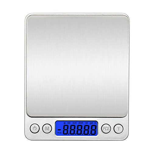 Kitchen Scale, Kitchen food Scale, FlatLED Digital Pocket Jewelry Weight Compact Scale, Lab Weight, 0.001oz /500g/0.01g Tare, Stainless Steel, Backlit Display (Silver)