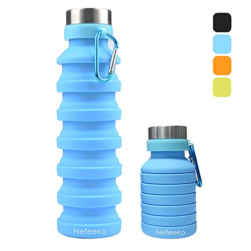 Nefeeko Collapsible Water Bottle, Reuseable BPA Free Silicone Foldable Water Bottles for Travel Gym Camping Hiking, Portable Leak Proof Sports Water Bottle with Carabiner, 18oz(Blue)